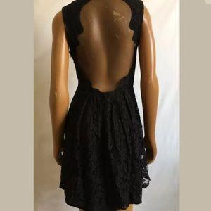 Anthropologie black lace sheer dress size 4